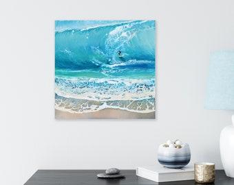 "Original Surfing Waves Painting, 30x30 cm/12x12"""