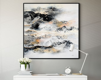 """Original Black & White Abstract Painting on Canvas, Ready to Hung, Size 27.5x27.5 """"/70x70 cm"""