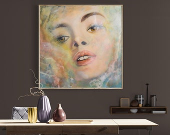 Extra large XXL Portrait, Contemporary Mixed Media Woman Portrait 39x39x1 inches / 100x100x3 cm
