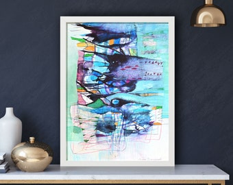 Original Abstract Watercolor, Framed Painting 30x40cm (app.12x17')