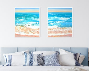 Beach Diptych - Set of 2 Original Paintings on Canvas, 108 x 65cm/42.5x25.5 inches, Ready to Hang