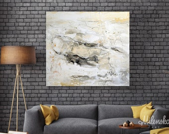 Marble world 1 - Original Large White Abstract Painting, White Marble Painting Stretched on a Canvas, White&Grey Modern Art 80x90 cm/31'x35'