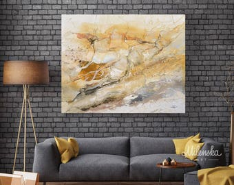 "Marble World 2 - Original large abstract ivory & amber painting, White yellow marble painting, Large modern 32x40""/80x100 cm abstract art"