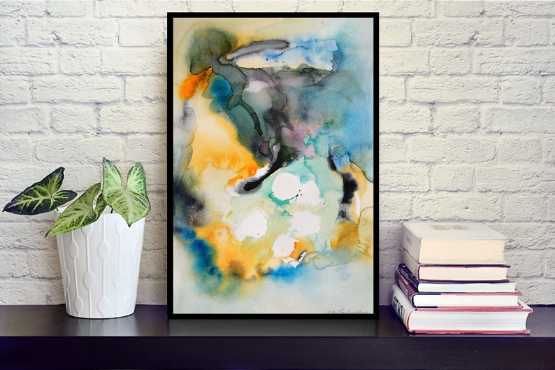 Original Abstract Painting Watercolor on Paper 30x42 cm 1. Framed