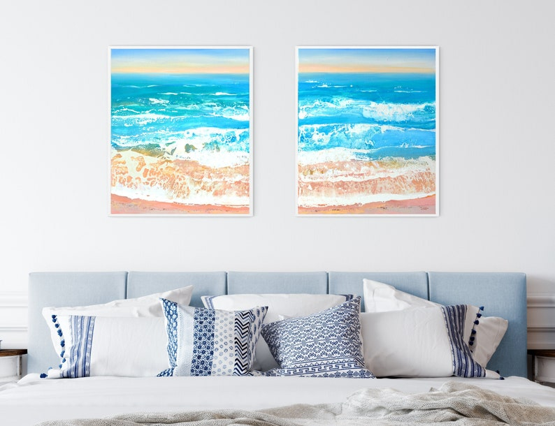 Beach Diptych  Set of 2 Original Paintings on Canvas 108 x image 0