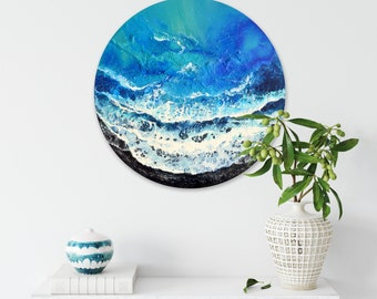 Exotic Shore - Original Seascape Painting on Round Panel, 40 cm, Ready to Hang