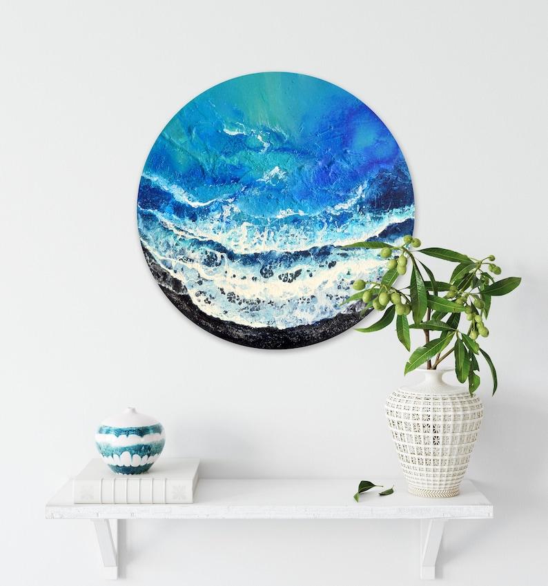 Exotic Shore  Original Seascape Painting on Round Panel 40 image 0