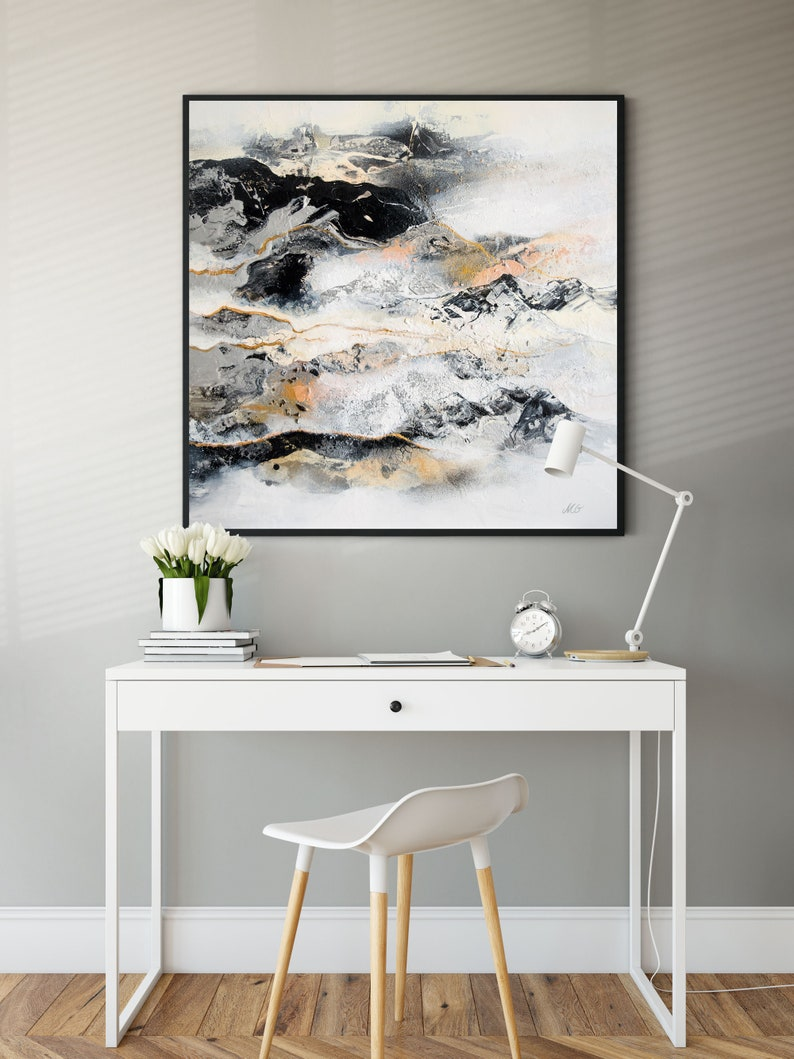 Black & White Abstract Prints on Canvas Various sizes image 0