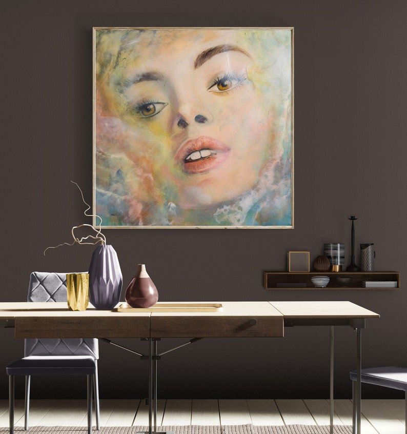 Extra large XXL Portrait Contemporary Mixed Media Woman image 0