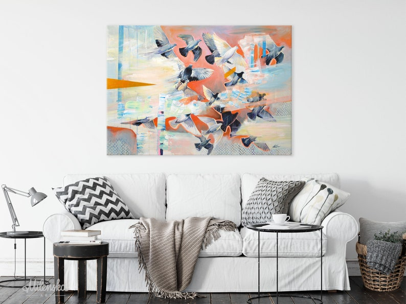 Original Large Painting Orange and Black Flock of Bird image 0