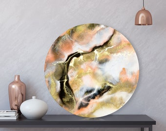Original Resin Painting on Round Panel, Sizes: 40cm/16 inches