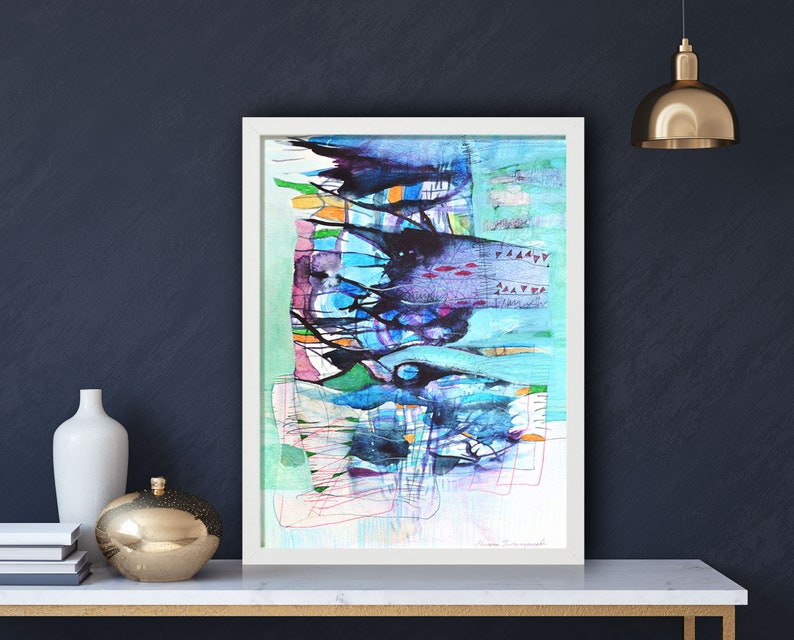 Original Abstract Watercolor Framed Painting 30x40cm image 0