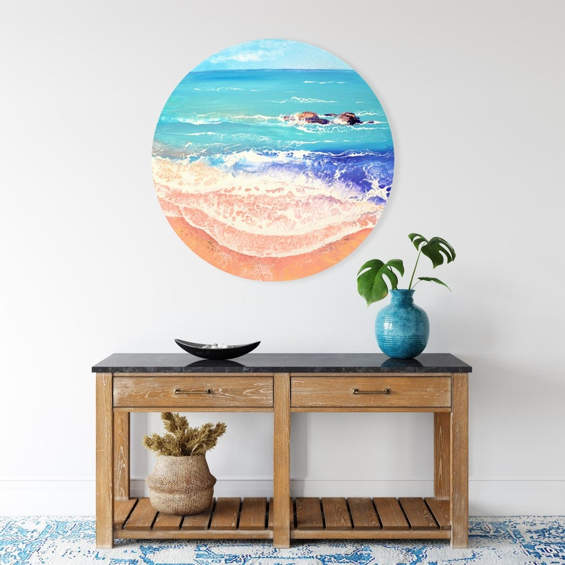 Pink Shore  Original Seascape Painting on Round Canvas 70 image 0