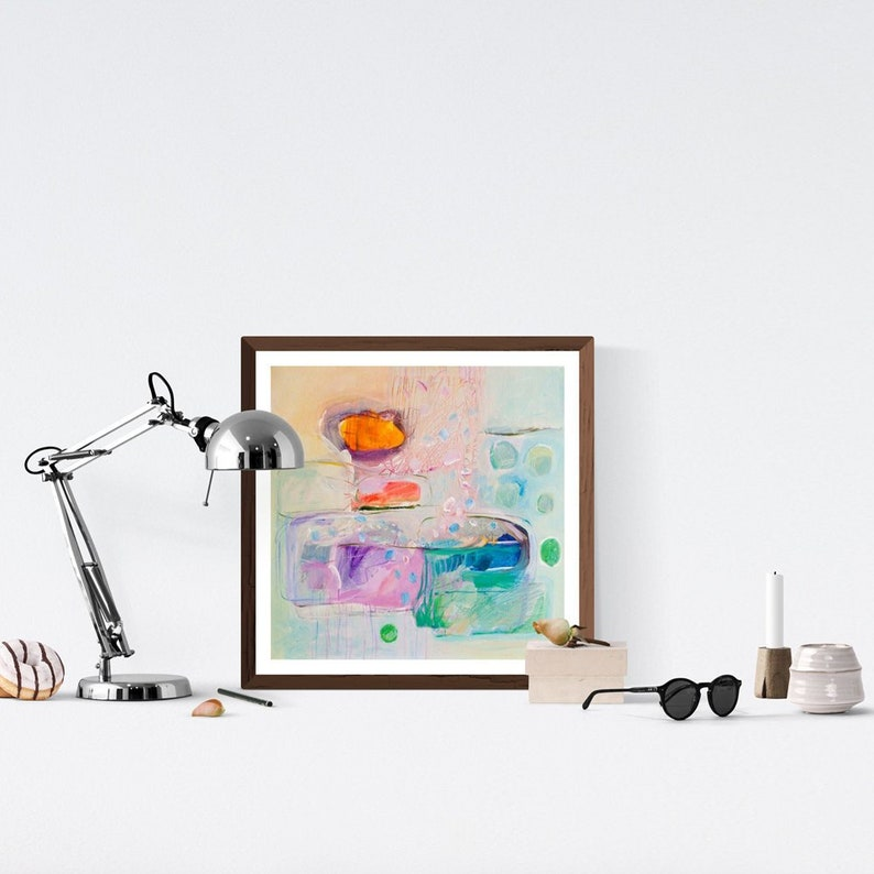Original abstract painting white acrylic box painting bright image 0