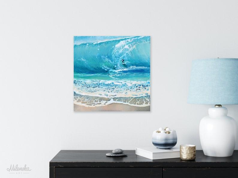 Original Surfing Waves Painting 30x30 cm/12x12 image 0