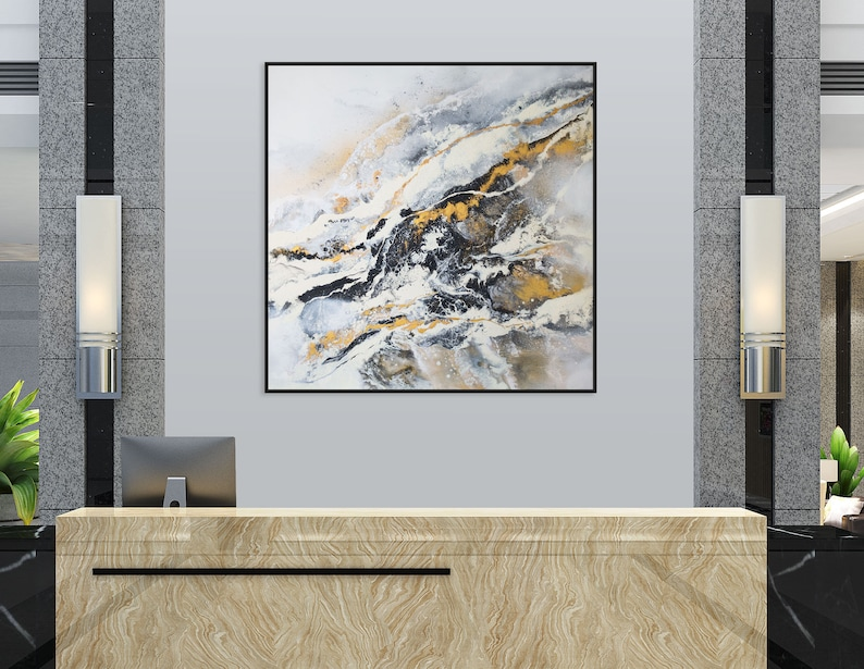 Original Large Black & White Painting on Canvas Ready to image 0