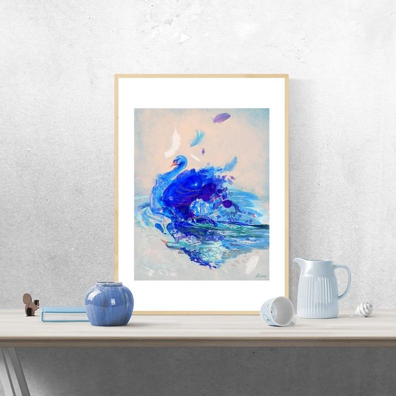 Bird Digital Print Modern Swan Painting Blue Animal Print image 0