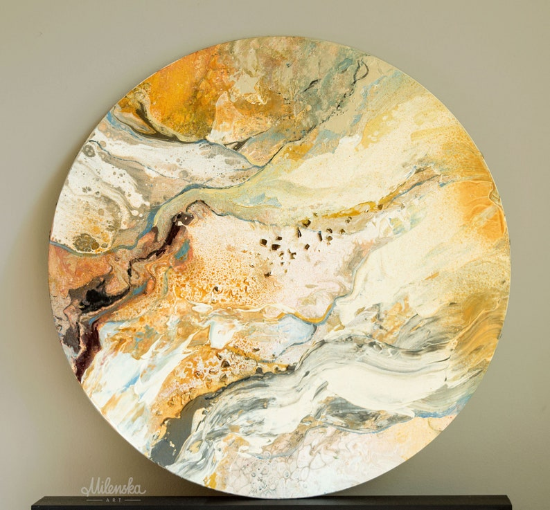 Abstract Original Painting on Round Panel Sizes: 40cm/16 image 0