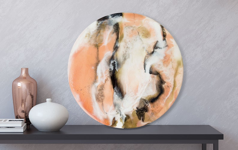 Original Resin Painting on Round Panel Sizes: 40cm/16 inches image 0