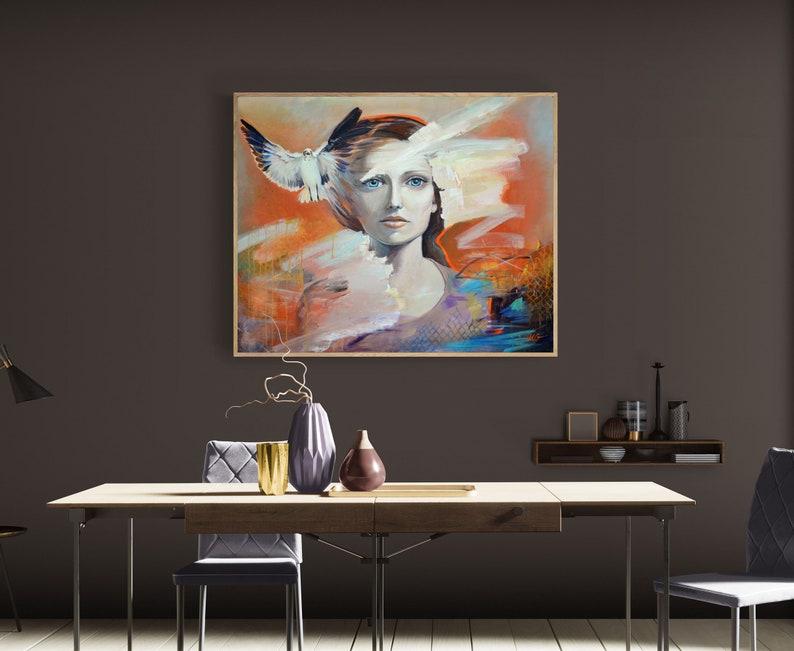 large Original Woman Portrait Size: 32x40x1 81x100x25 image 0