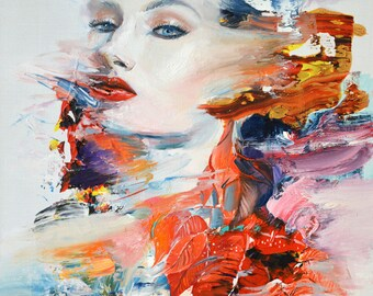 """Spirit 2 - Original oil and acrylic painting on canvas, white and red painting, abstract woman portrait, fashion woman art 65x54cm/25.5x21"""""""