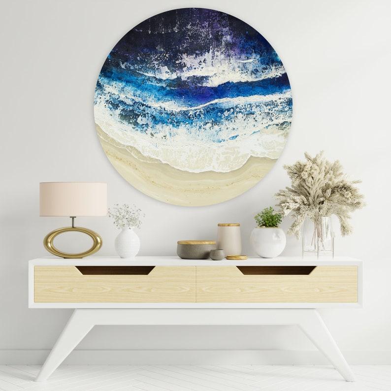 Sparkling Night  Original Seascape Round Painting 90 cm image 0