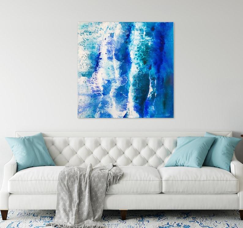 Original Large Seascape Painting Mixed Media on Canvas Ready image 0
