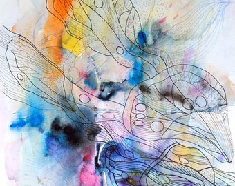 "Butterfly original watercolor abstract art, modern painting on paper, blue, orange, yellow, pink, black, white 35x50 cm (app. 14x20"")"