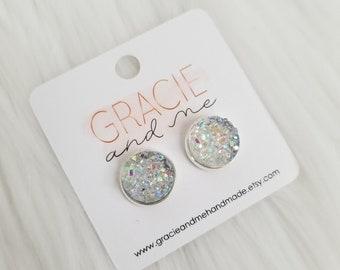 Crystal Clear Rainbow Faux Druzy Stud Earrings Druzy Earrings