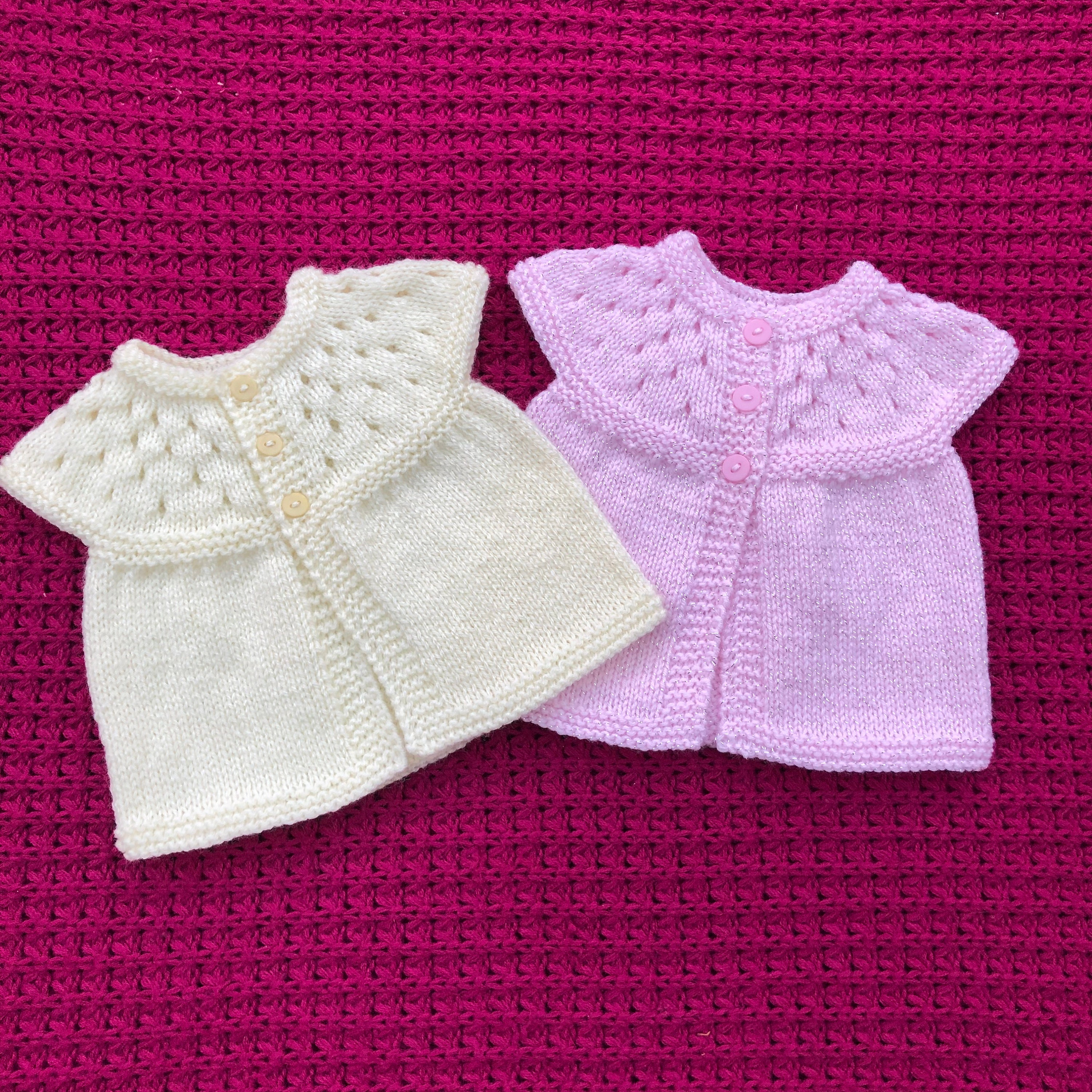 c1460a500306ff Baby Cardigan Jacket New Born To Three Months Lemon Or Pink