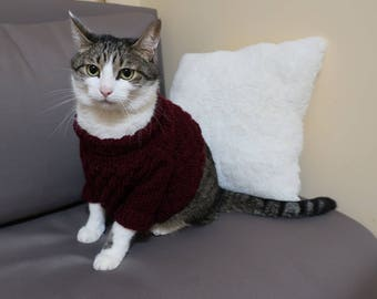 Marsala Sweater for Cat, Wool top for pet, Clothes for cats, Warm cat clothes, Long sleeve hand knitted sweater, Handmade pullover for pets