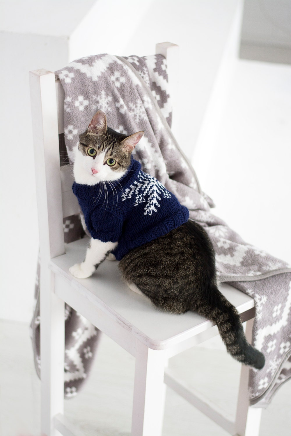 Snowflake Sweater for Cat Cat clothes Warm hand knitted | Etsy