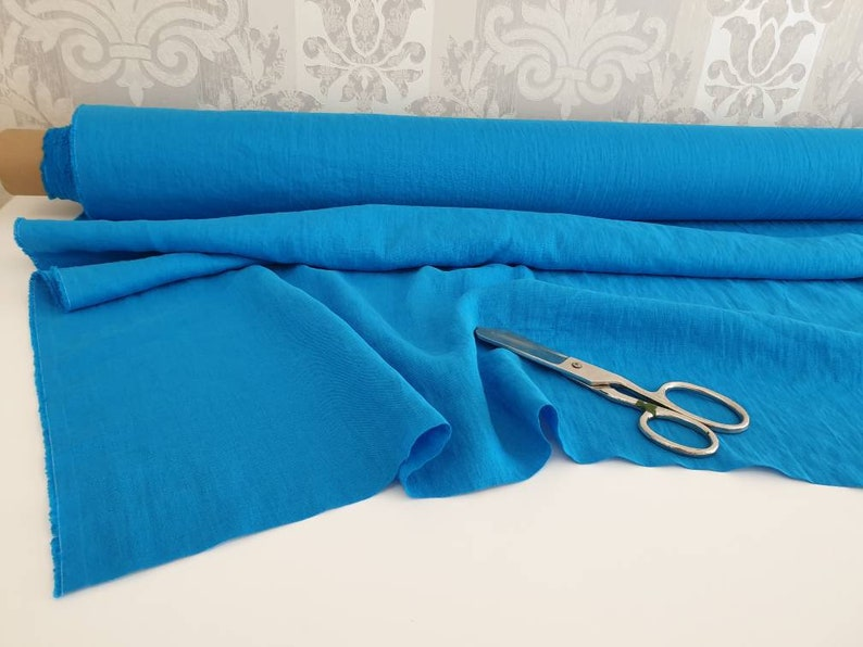 natural soft linen electric bright blue turquoise stonewashed linen fabric by the yard 7oz Washed turquoise linen fabric by the meter