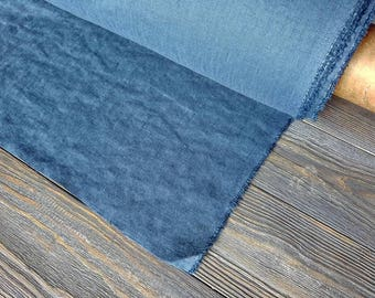 Softened steel blue linen fabric by the meter, natural linen blue fabric, blue washed linen fabric by the yard 7oz 200GSM tissu au metre