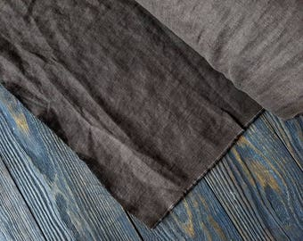 Washed cool brown linen fabric by the meter, natural linen light brown prewashed linen fabric by the yard 7oz 200GSM tissu au metre
