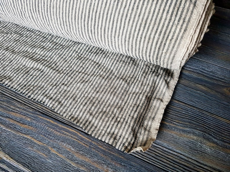 Softened striped linen fabric by the meter tissu au metre image 0