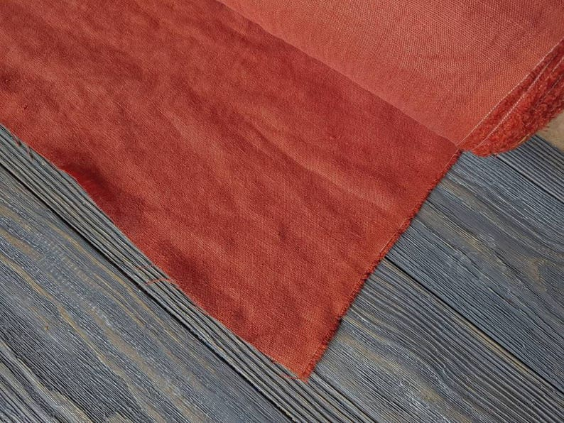 Softened rust linen fabric by the meter rust pre washed stonewashed linen fabric by the yard 7oz 200GSM natural linen rust color fabric