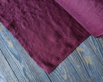 Softened boysenberry linen fabric by the meter, natural purple plum linen fabric, plum washed stonewashed linen fabric by the yard 200GSM