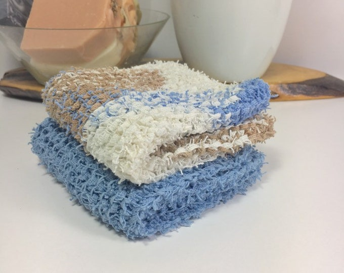 Knit washcloth / scrubby washcloth / free shipping / ready to ship / blue and beige / washcloth / skincare