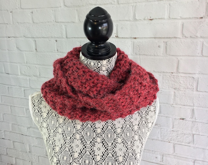 Red alpaca hand knitted infinity scarf / wool scarf / gifts for her / handmade gifts / ready to ship / alpaca scarf / made in Canada / sale