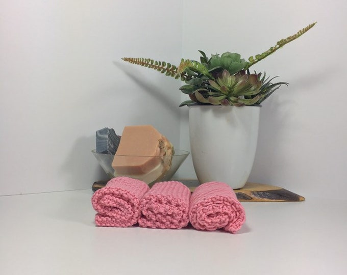 Knit cotton washcloth / pima cotton washcloth / luxury washcloth / spa cloth / luxury skincare / natural skincare / pink washcloth