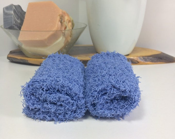 Knit washcloth / scrubby washcloth / free shipping / ready to ship / blue washcloths / washcloth / skincare