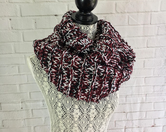 Black white and maroon triple knit infinity scarf / chunky knit scarf / gifts for teen girls / gift for her / ready to ship / gifts for her