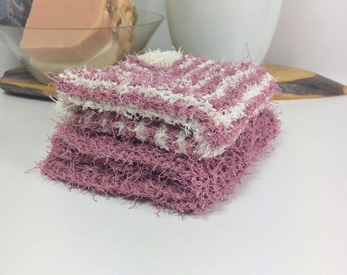 Knit washcloth / scrubby washcloth / free shipping / ready to ship / pink and white washcloths / washcloth / skincare