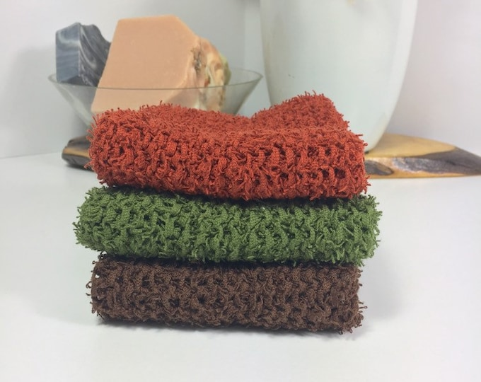 Knit scrubby washcloth / knit scrubby dishcloth / ready to ship / free shipping / gift for her / natural skincare / terra cotta / eco