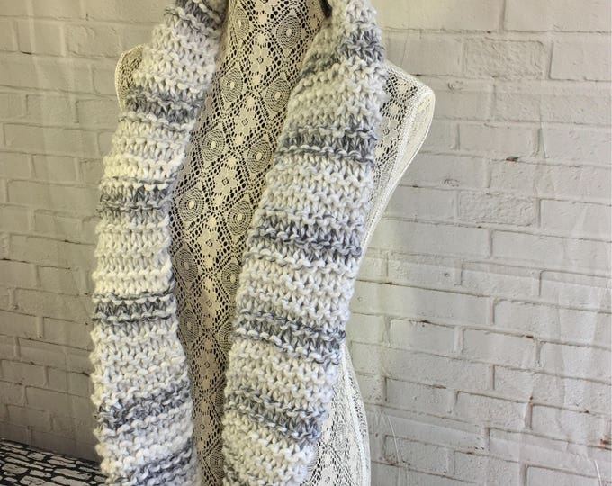 Hand knitted wool scarf / chunky knit infinity scarf / gifts for her / gifts for teen girls / made in Canada / ready to ship / gift ideas /