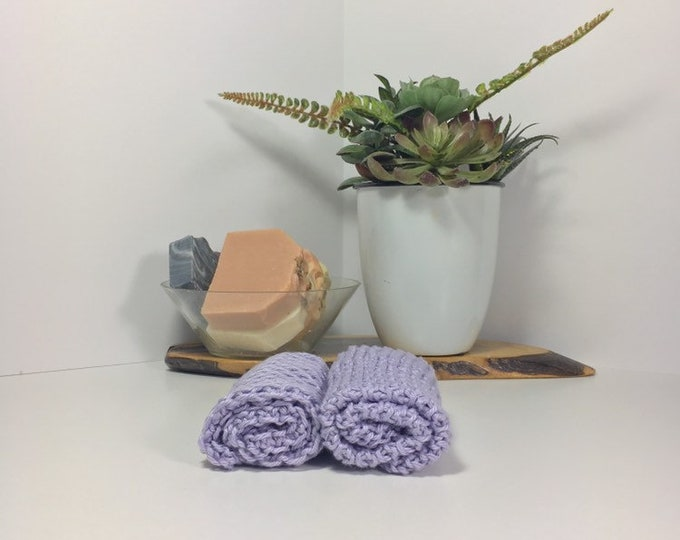 Knit cotton washcloth / pima cotton washcloth / luxury washcloth / spa cloth / luxury skincare / natural skincare / purple