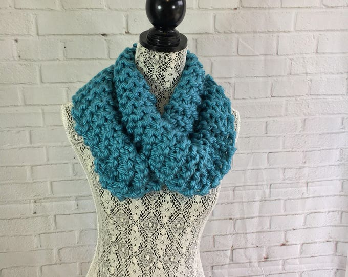 Hand knitted infinity scarf / scarf / teal scarf / gifts for her / cowl / women's scarf / winter scarf / chunky knit scarf / chunky scarf /