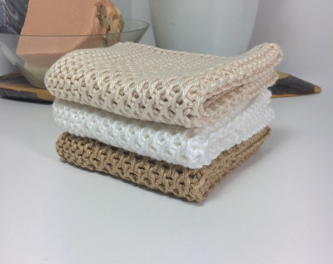 Knit cotton washcloth / pima cotton washcloth / neutral decor / spa cloth / luxury skincare / natural skincare