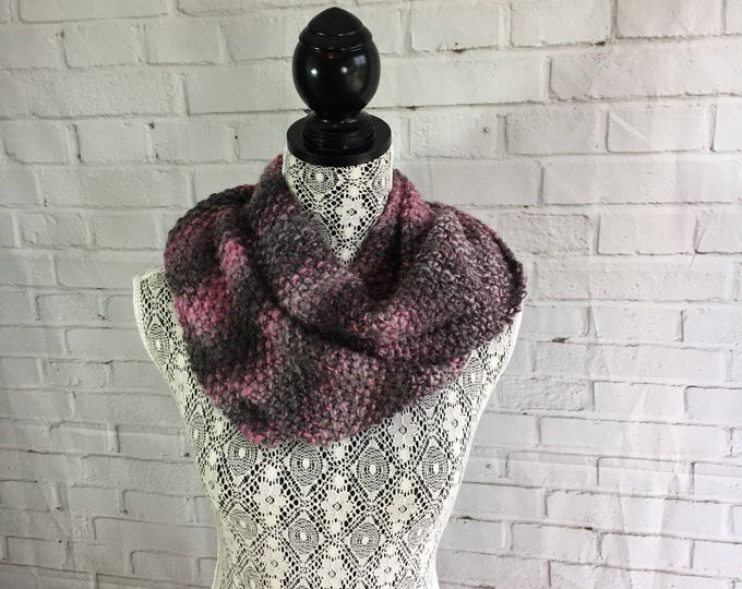 Pink gray and black hand knitted infinity scarf / gifts for her / gifts for teens / wool scarf / made in Canada / ready to ship / gift ideas